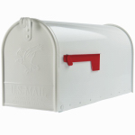 Solar Group E11600W00 Elite Post Mailbox, White Galvanized, Large, 10.87 x 8.5 x 20.25-In.