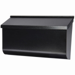 Solar Group L4010WB0 Woodlands Wall Mailbox, Horizontal, Black Galvanized Steel, XL, 9.75 x 16.37 x 4.62-In.