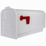 Solar Group PL101W0201 Post Mailbox, White Durable Polypropylene With Ultraviolet Inhibitor, 9.5 x 8 x 19.5-In.