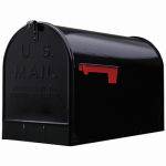 Solar Group ST200B00 Post Mailbox, Black Ribbed Galvanized Steel, Jumbo, 15 x 11.5 x 23.5-In.