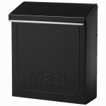 Solar Group THVK0B0001 Wall Mailbox With Lock, Vertical, Black Galvanized Steel