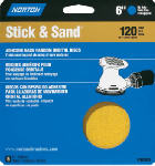Norton Abrasives/St Gobain 07660702498 5-Pack 6-Inch 120-Grit No Hole Stick & Sand Paper Discs