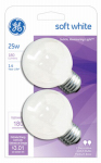 G E Lighting 31107 2-Pack 25-Watt White Incandescent Globe Lamps