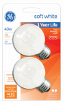G E Lighting 31110 Incandescent Globe Bulb, White, 40-Watt, 2-Pk.