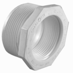 Genova Products 34321 PVC Pressure Pipe Fitting, Reducer Bushing, White PVC, 2 x 1-1/2-In.