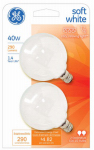 G E Lighting 44414 Globe Light Bulb, White, 40-Watt, 120-Volt, 2-In.-Diameter, 2-Pk.