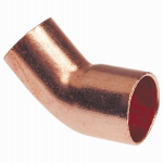B&K W 63344 Pipe Fitting, Wrot Copper Street Elbow, 45 Degree, 1-In.