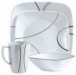 World Kitchen 1069983 Simple Lines Square Dinnerware 16-Piece Set