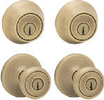 Kwikset 242T 5 CP K2 Security Combination Lockset, Antique Brass