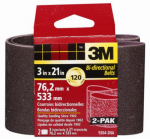 3M 9265NA-2 2-Pk., 3 x 21-In. 80-Grit Heavy-Duty Sanding Belt