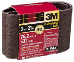 3M 9266NA-2 2-Pk., 3 x 21-In. 50-Grit Heavy-Duty Sanding Belt