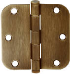 Schlage Lock SC3P1011F-609E 3-Pack 3-1/2 In. Antique Brass Round-Corner Door Hinges