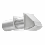 Lambro Industries 222WS Dryer Vent Hood With Tail Piece, Removable Screen & Sleeve, White, 3-In.