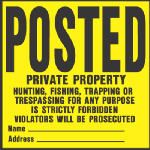 "Hy-Ko Prod YP-1 11 x 11-Inch Black/ Yellow Plastic ""Private Property... Violators Will Be Prosecuted"" Sign"