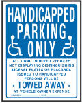 "Hy-Ko Prod 703 Sign, ""Handicapped Parking Only"", Blue & White Plastic, 19 x 15-In."