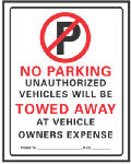 "Hy-Ko Prod 702 ""No Parking"" Sign, Red/Black Plastic, 19 x 15-In."