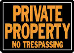 "Hy-Ko Prod 848 ""Private Property No Trespassing"" Sign, Hy-Glo Orange & Black Aluminum, 10 x 14-In."