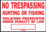 "Hy-Ko Prod SS-5 10 x 14-Inch Red/ White Aluminum ""No Trespassing/ Hunting"" Sign"