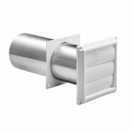 Lambro Industries 267WS Dryer Vent With Tail Piece & Sleeve, Louver, White Plastic, 4-In.