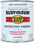 Rust-Oleum 7797502 Qt. Stops Rust White Semi-Gloss Oil-Based Paint