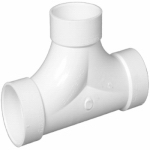 Charlotte Pipe & Foundry PVC 00448  0600HA Plastic Pipe Fitting, DWV  2-Way Cleanout Tee, PVC, 3-In.