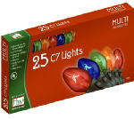 Noma/Inliten-Import 525-88 Christmas Lights Set, Multi-Color, C7 Transparent, 25-Ct.