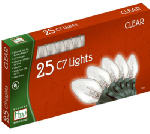 Noma/Inliten-Import 525C-88 Christmas Lights Set, Clear, C7, 25-Ct.