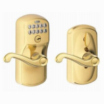 Schlage Lock FE595VPLYXFLA505 Plymouth Brass Keypad Entry Lock With Flexible or Flex Lock