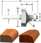 Vermont American 23136 5/8-In. Round-Over & Beading 2-Flute Router Bit