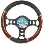 Custom Accessories 35710 Steering Wheel Cover, Black/Wood/Chrome