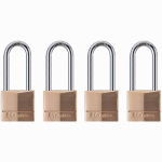 Master Lock 140QLH 4-Pack 1-9/16 Inch Solid-Brass Long-Shackle Keyed-Alike Padlock