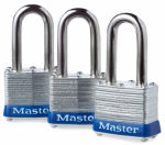 Master Lock 3TRILF Laminated Padlock, 1-9/16 In. Long-Shackle, Keyed-Alike, 3-Pk.