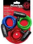 Master Lock 8127TRI 3-Pack 6-Ft. Multi-Purpose Keyed-Alike Bike Lock With 8mm Colored Cables
