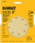 Dewalt Accessories DW4303 5-Pack 5-Inch 8-Hole 120-Grit Hook-and-Loop Random Orbit Sandpaper