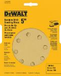 Dewalt Accessories DW4304 5-Pack 5-Inch 8-Hole 150-Grit Hook-and-Loop Random Orbit Sandpaper