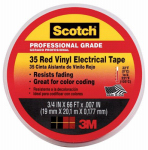 3M 10810-DL-2W Vinyl Electrical Tape, Professional-Grade, Red, .75-In. x 66-Ft.