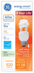 G E Lighting 74196 9-Watt Soft White CFL Bulb