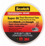 3M 6143-BA-100 Super 88 Electrical Tape, Vinyl All-Weather, .75-In. x 66-Ft.
