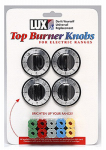 Lux Products CPR404 Electric Range Top Burner Knobs, Black, 4-Pk.