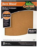 Ali Industries 4463 Sandpaper, Garnet Medium 100-Grit, 9 x 11-In., 5-Pk.