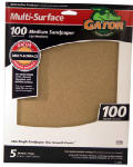 Ali Industries 4441 Sandpaper, Medium 100-Grit, 9 x 11-In., 5-Pk.