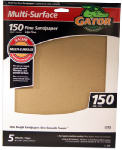 Ali Industries 4442 Sandpaper, Fine 150-Grit, 9 x 11-In., 5-Pk.