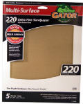 Ali Industries 4443 5-Pack 9 x 11-Inch 220-Grit Sandpaper