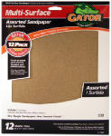 Ali Industries 4445 12-Pack 9 x 11-Inch Assorted General-Purpose Sandpaper