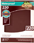 Ali Industries 4474 5-Pack 9 x 11-Inch 220-Grit Waterproof Sandpaper