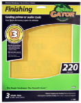 Ali Industries 7266 Sandpaper Sheet, 220-Grit, 9 x 11-In., 3-Pk.