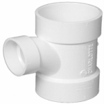 Charlotte Pipe & Foundry PVC 00401  2000HA Reducing Sanitary Tee, 4 x 4 x 4-In. Hub, White,
