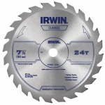 Irwin Industrial Tool 15130 Carbide-Tipped Circular Saw Blade, 7.25-In., 24-Teeth