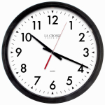 La Crosse Technology 404-2636-INT Commercial Wall Clock, Quartz Movement, Black, 14-In.