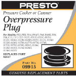 National Presto Ind 09915 Pressure Cooker Over-Pressure Plug